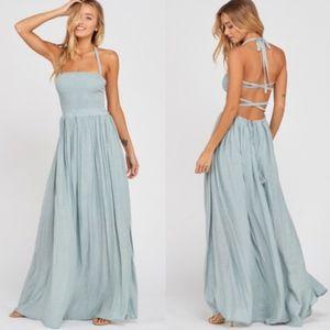 GEMMA Open Back Halter Maxi Dress - Powder blue